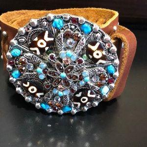 Leatherock size 34 turquoise and crystal custom